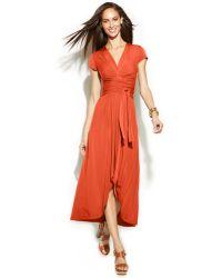 Michael Kors Michael Short-Sleeve Wrap-Waist Maxi Dress - Lyst