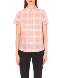 Marc By Marc Jacobs Blurred Gingham Silk-Blend Shirt - For Women - Lyst