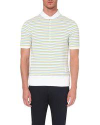 Thom Browne Stripe-Knit Cotton Polo Shirt - For Men - Lyst