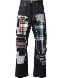 Junya Watanabe Straight Leg Patchwork Jeans - Lyst