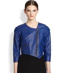 Cut25 by Yigal Azrouël Asymmetrical Leather Moto Jacket - Blue