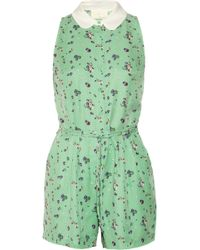 Girl by Band of Outsiders - Elise Floralprint Silk and Cottonblend Jacquard Playsuit - Lyst