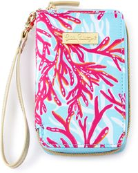 Lilly Pulitzer - Coral-print Tiki Palm Iphone 6 Wristlet - Lyst