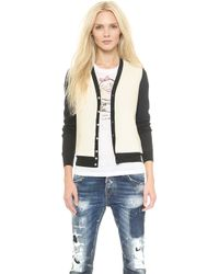 DSquared2 Leather Panel Cardigan  Blackoff White - Lyst