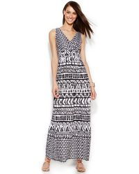 Inc International Concepts Petite Printed Ruched-Back Maxi Dress - Lyst