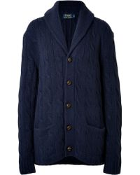 Polo Ralph Lauren Cable Knit Wool Cardigan - Lyst