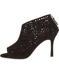 Manolo Blahnik Maufami Laser-Cut Suede Ankle Boot - Lyst