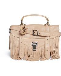 Proenza Schouler 'Ps1 Fringe' Tiny Leather Satchel beige - Lyst