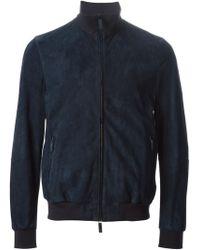 Giorgio Armani Leather Bomber Jacket - Lyst