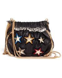 Venna - '5 Star' Crystal Spike Leather Crossbody Chain Bag - Lyst