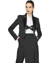 Jean Paul Gaultier Stretch Wool Ottoman Cropped Jacket - Black