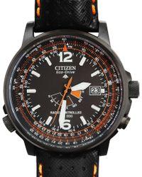 Citizen Quartz Watch. Black Leather Bracelet, Black Face - Lyst