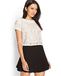 Forever 21 Embroidered Bead Lace Top - Lyst