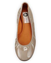 Lanvin Patent Leather Ballerina Flat - Lyst
