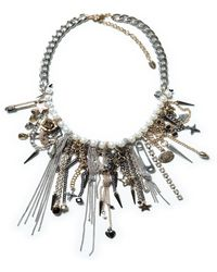Zara Combination Necklace with Chain and Pearls - Lyst