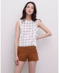 Pull&Bear Top With Shoulder Frill - Lyst