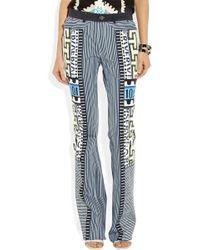 Mary Katrantzou Bloomberg Print Denim Trousers In Multi - Blue - Gray