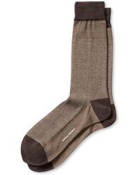 Banana Republic Luxe Micro Stripe Sock Gardner Brown - Lyst