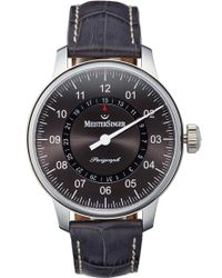 Meistersinger - 'perigraph' Automatic Single Hand Leather Strap Watch - Lyst