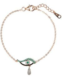 Galleria Armadoro - 'evil Eye' Drop Bracelet - Rg/grn - Lyst