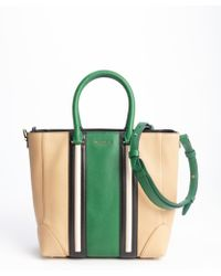Givenchy Beige And Green Striped Convertible Tote Bag - Lyst