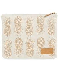 Alola Pineapple Print Canvas Clutch - Natural