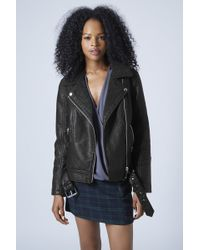 Topshop Faux Leather Borg Biker Jacket - Black - Lyst