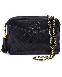 Chanel Pre-Owned Black Quilted Tassel Shoulder Bag - Lyst