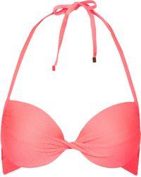 Topshop Textured Coral Plunge Bikini Top - Lyst