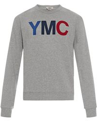 YMC Logo-Print Cotton Sweatshirt - Grey