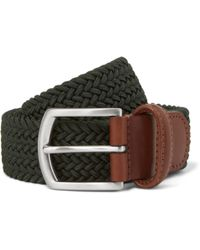 Andersons Green 35cm Leather-trimmed Elasticated Woven Belt - Lyst