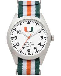 Jack Mason Brand - 'university Of Miami Hurricanes' Stripe Nato Strap Watch - Lyst