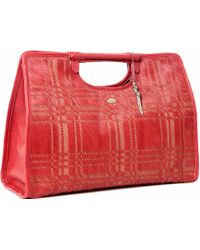 Lucque - Riviera Tote Red Plaid Hair On Calf - Lyst