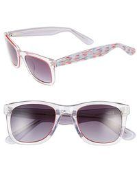 Kensie | 'ellie' 49mm Retro Sunglasses - Crystal Clear/ Multi Stripe | Lyst
