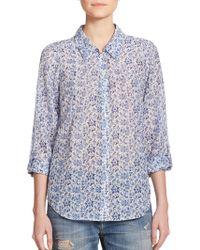 Joie Katrine Floral-Print Cotton & Silk Shirt - Lyst
