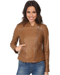 "Cole Haan 20"" Leather Moto Jacket - Lyst"