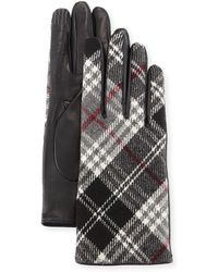 Portolano | Plaid Cashmere-back Leather Gloves | Lyst