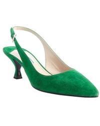 Prada Emerald Suede Slingback Pumps - Lyst