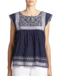 Suno Embroidered Peasant Top - Lyst