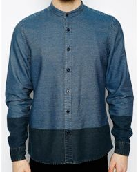 Asos Grandad Shirt in Long Sleeve with Contrast Panel - Lyst