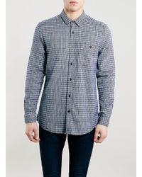 Topman Blue Basket Check Long Sleeve Shirt - Lyst