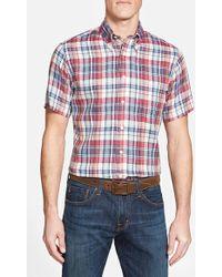 Brooks Brothers Regent Fit Short Sleeve Plaid Linen Sport Shirt blue - Lyst