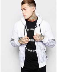 Criminal Damage Zip-up Hoodie In Marble Print And Taping - White