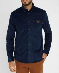 KENZO Navy Tiger Logo Buttoned Collar Corduroy Slim-fit Shirt blue - Lyst