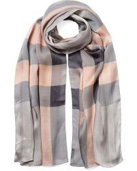 Burberry Silk Check Scarf - Lyst