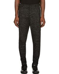 Damir Doma Black and Grey Marled Drop Crotch Trousers - Lyst