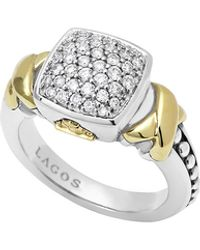 Lagos Silver  18k Diamond Lux Pave Cushion Ring - Lyst