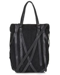 Topshop Strappy Suede And Leather Tote - Lyst