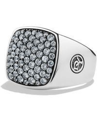 David Yurman Pave Signet Ring with Gray Sapphires - Lyst