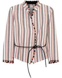 Pinko - Striped Basketweave Canvas Jacket - Lyst